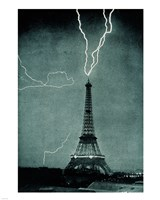 Lightning Striking the Eiffel Tower Fine Art Print