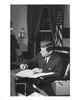 Proclamation Signing, Cuba Quarantine. President Kennedy. White House, Oval Office Framed Print