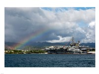 US Navy, A Rainbow Arches Near the Aircraft Carrier USS Kitty Hawk Framed Print