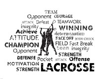 Lacrosse Text Framed Print