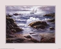 Boat By Waves Fine Art Print