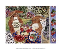Bunnies Dining Fine Art Print