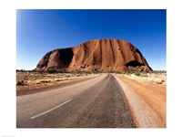 Road passing through a landscape, Ayers Rock, Uluru-Kata Tjuta National Park, Australia Fine Art Print