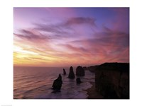 Eroded rocks in the ocean, Twelve Apostles, Port Campbell National Park, Victoria, Australia Fine Art Print