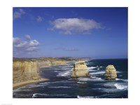 High angle view of rock formations in the ocean, Gibson Beach, Port Campbell National Park, Australia Fine Art Print
