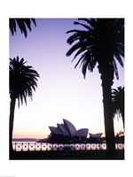 Silhouette of a opera house at dusk, Sydney Opera House, Sydney, Australia Fine Art Print