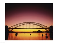 Silhouette of a bridge across a harbor, Sydney Harbor Bridge, Sydney, New South Wales, Australia Fine Art Print