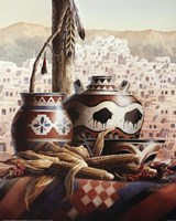Southwest Pottery with Corn Fine Art Print