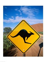 Kangaroo sign on a road with a rock formation in the background, Ayers Rock Fine Art Print