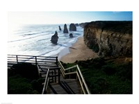 High angle view of rocks on the beach, Twelve Apostles, Port Campbell National Park, Victoria, Australia Fine Art Print