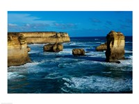 High angle view of rocks in the sea, Twelve Apostles, Port Campbell National Park, Victoria, Australia Fine Art Print