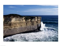 High angle view of waves breaking on the coast, Port Campbell National Park, Victoria, Australia Fine Art Print
