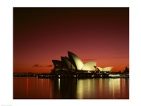 Opera house lit up at night, Sydney Opera House, Sydney, Australia Fine Art Print