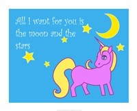 Moon and Stars Unicorn Fine Art Print