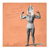 Muscle Man Unicorn Framed Print