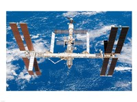 International Space Station moves away from Space Shuttle Endeavour Fine Art Print