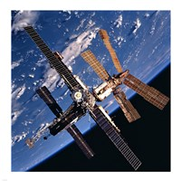 Mir Space Station And Earth Fine Art Print