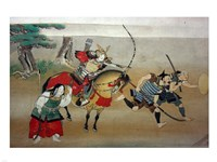 Illustrated Story of Night Attack on Yoshitsune's Residence At Horikawa, 16th Century Fine Art Print