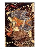 Oki no Jiro Hiroari killing a monstrous tengu Fine Art Print