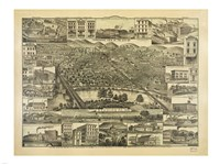 Topographic View of the City of Reading PA. 1881 Fine Art Print