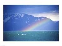 Rainbow over a sea, Resurrection Bay, Kenai Fjords National Park, Alaska, USA Fine Art Print