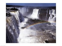 Rainbow over a waterfall, Devil's Throat, Iguacu Falls, Iguacu River, Parana, Brazil Fine Art Print