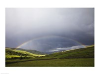 England, Yorkshire, Yorkshire Dales, Rainbow over Swaledale Fine Art Print