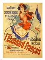 I'Etendard Francais Bicyclettes Fine Art Print