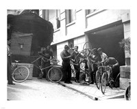 Taking care of  maintenance of the racing bicycles during a rest day in Belfort Fine Art Print