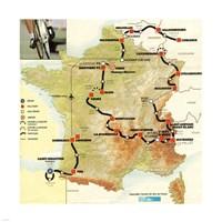 Tour de France 1992 map Fine Art Print