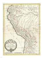1775 Bonne Map of Peru, Ecuador, Bolivia, and the Western Amazon Framed Print