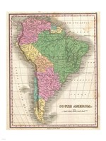 1827 Finley Map of South America Framed Print