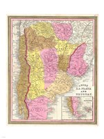 1846 Burroughs - Mitchell Map of Argentina, Uruguay, Chili in South America Fine Art Print