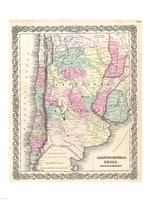 1855 Colton Map of Argentina, Chile, Paraguay and Uruguay Fine Art Print