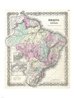 1855 Colton Map of Brazil 1855 Fine Art Print