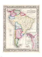 1864 Mitchell Map of South America Fine Art Print
