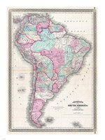 1870 Johnson Map of South America Framed Print