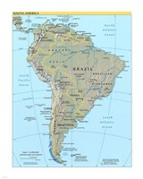 Map of South America Fine Art Print