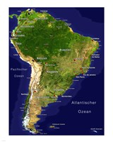 South America - Satellite Orthographic Political Map Framed Print