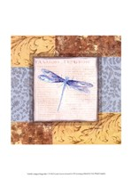 Collaged Dragonflies V Fine Art Print