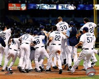 Tampa Bay Rays celebrate their 2011 AL Wild Card victory Fine Art Print