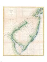 1873 U.S. Coast Survey Chart NJ and the Delaware Bay Framed Print
