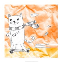 Skateboarding Cat II Fine Art Print