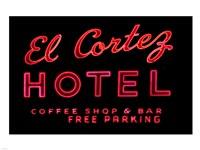 Historic El Cortez Hotel neon sign, Freemont Street, Las Vegas Framed Print