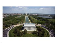 Ariel view of the Lincoln Memorial Framed Print