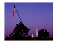 Iwo Jima Memorial at dusk, Washington, D.C. Framed Print