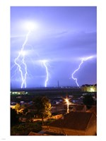 Lightning over Oradea Romania Fine Art Print
