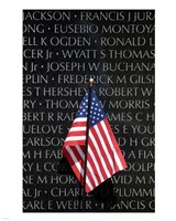American flag at Vietnam Veterans Memorial Fine Art Print