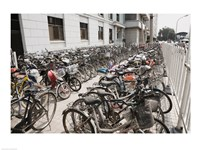 Bicycles parked outside a building, Beijing, China Fine Art Print