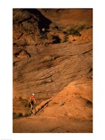 High angle view of a man mountain biking, Moab, Utah, USA Framed Print